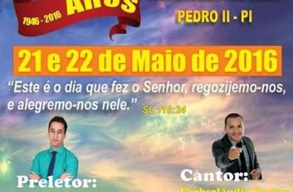 Igreja evangélica comemora 70 anos em Pedro II