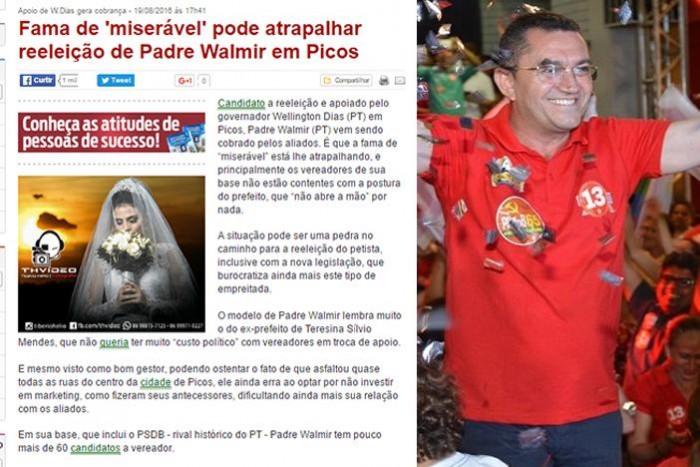 Portal diz que prefeito arrisca reeleição por ser miserável