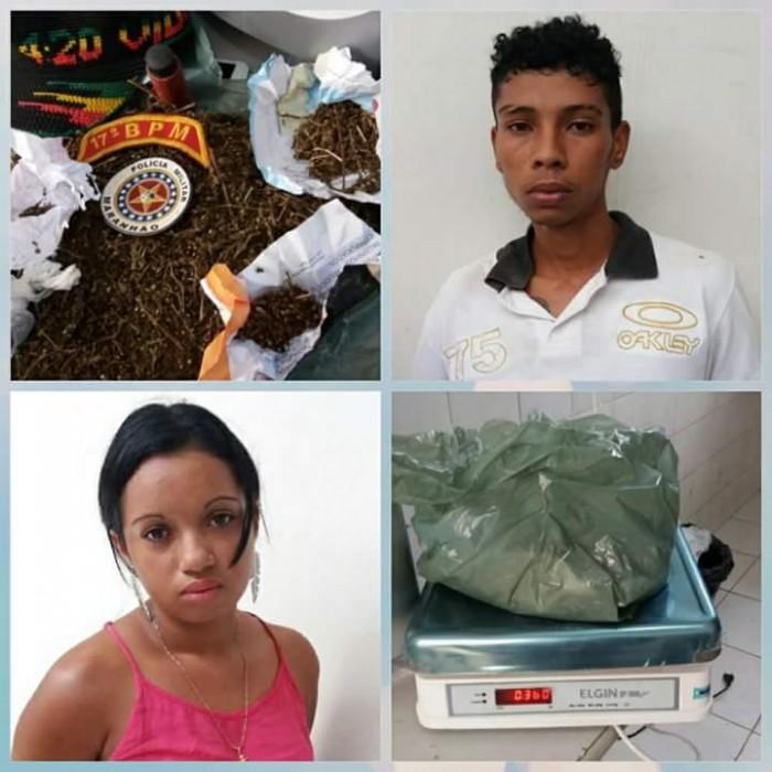 Casal de jovens são presos com 360g de maconha em Codó