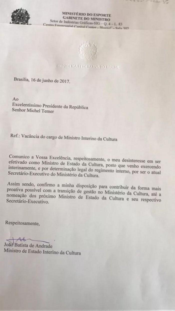 Ministro da Cultura entrega carta de demissão ao Michel Temer