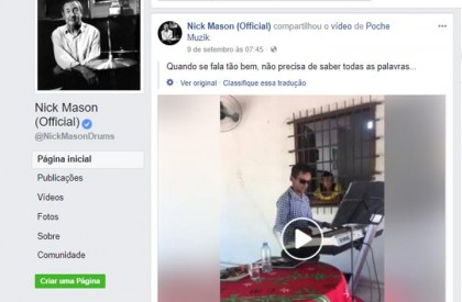 Baterista do Pink Floyd compartilha vídeo de Gleyfy Brauly no Facebook