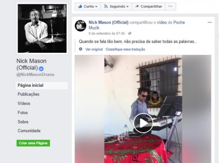 Baterista do Pink Floyd compartilha vídeo de Gleyfy Brauly no Facebook