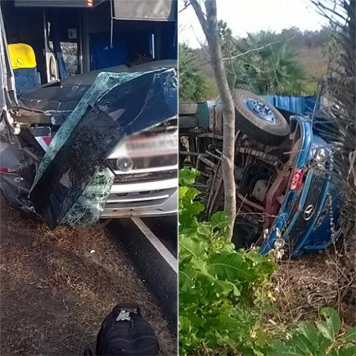 Dois caminhões e um micro-ônibus colidem em Castelo do Piauí