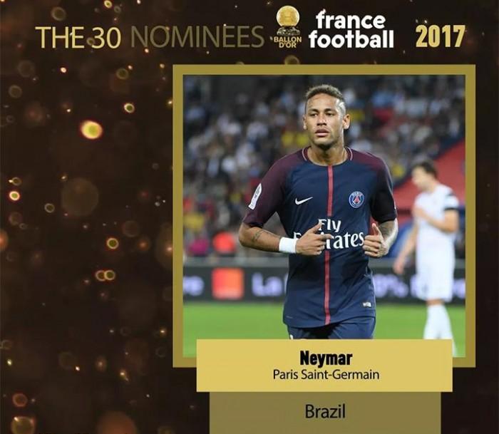 Neymar, Coutinho e Marcelo estão entre finalistas do Bola de Ouro