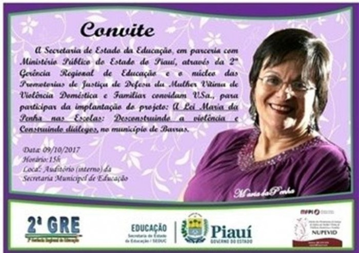 Projeto Maria da Penha nas Escolas será implantado em Barras