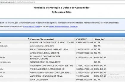 Procon Piauí divulga 'lista suja' com 518 lojas online não confiáveis