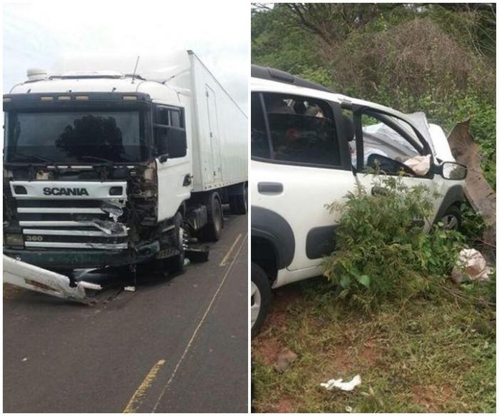 Colisão entre carro e caminhão deixa três pessoas mortas na BR 135