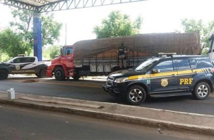 Polícia apreende caminhão com 34 toneladas de madeira ilegal