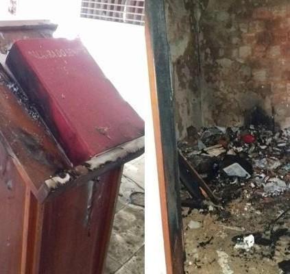 Bandidos roubam, depredam e incendeiam igreja no...