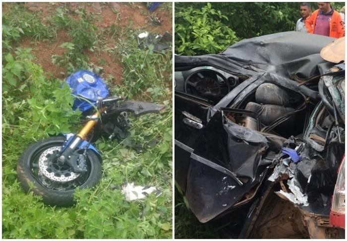 Colisão entre carro e moto mata um e parte moto ao meio