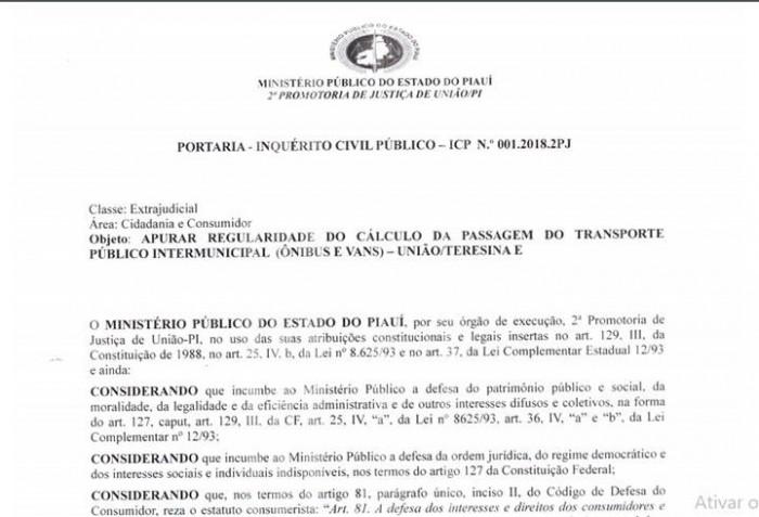 MP apura aumento da tarifa do transporte entre Teresina e União