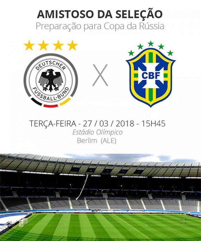 Brasil reencontra Alemanha em amistoso nesta terça (27)