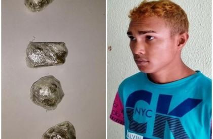 Jovem é preso ao ser flagrado escondendo drogas na...