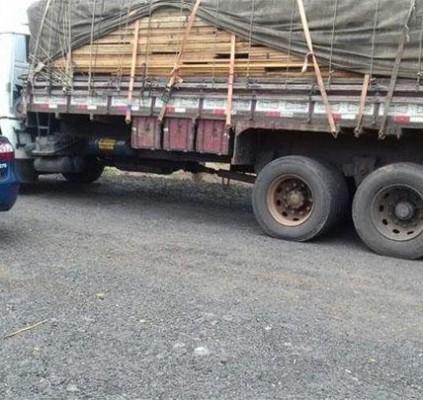 Polícia apreende caminhão transportando madeira irregular em...