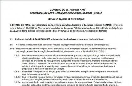 Semar prorroga prazo de inscrições para concurso de auditor fiscal ambiental
