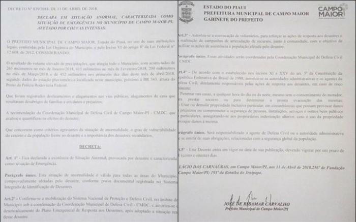 Prefeitura decreta estado de emergência devido às chuvas em Campo Maior
