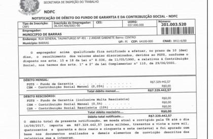 Barras: Ex-gestores deixaram de repassar R$ 7 milhões de...