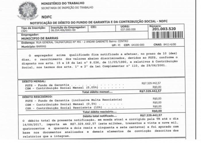 Barras: Ex-gestores deixaram de repassar R$ 7 milhões de FGTS