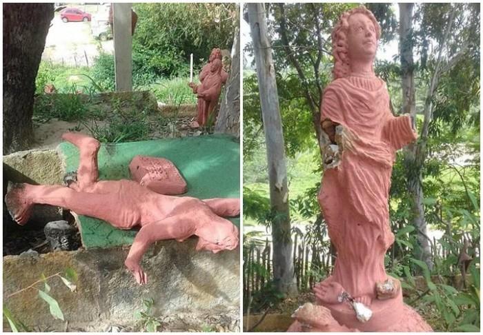 Vândalos furtam e quebram imagens de santuário em Ilha Grande