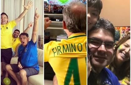 Políticos registram torcida pelo Brasil com família e amigos