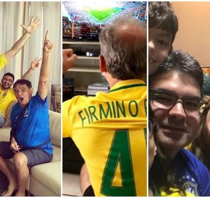 Políticos registram torcida pelo Brasil com família...