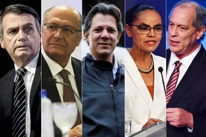 Datafolha: Bolsonaro, 24%; Ciro, 13%; Marina, 11%; Alckmin, 10%; Haddad, 9%
