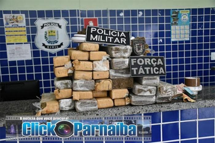 PM apreende quase 30 kg de maconha e prende três pessoas em Parnaíba