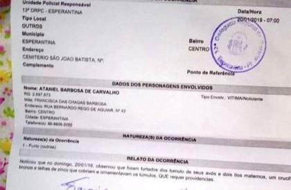 Túmulos são violados para furto de metais em Esperantina