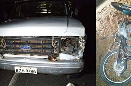 Colisão entre caminhão e motocicleta deixa uma pessoa morta