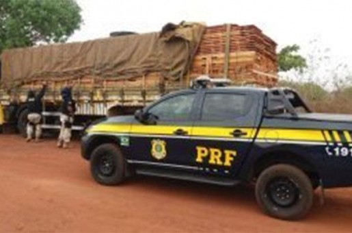 PRF apreende madeira sem licença ambiental  em Parnaíba