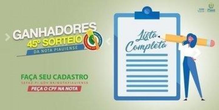 Sefaz divulga lista de ganhadores do 45º sorteio da Nota Piauiense