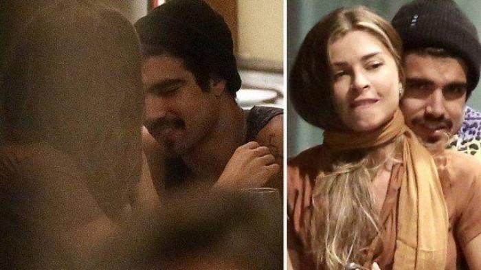 Grazi Massafera e Caio Castro trocam beijos e carinhos em jantar no Rio
