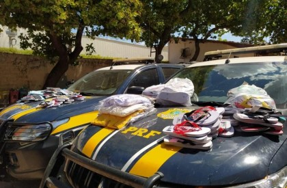 PRF apreende quase 300 unidades de calçados e vestuários falsificados