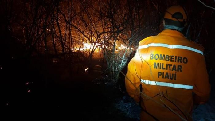 Bombeiros do Piauí combatem incêndio na divisa com o Ceará há mais de dez dias