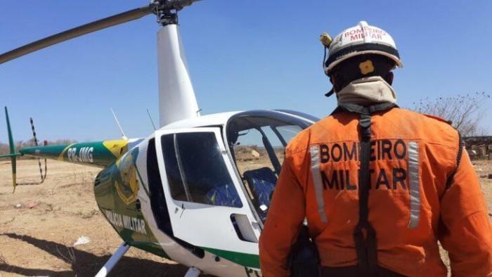 Polícia Militar envia helicóptero para identificar focos de incêndios no sul do Estado